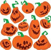 Funny Halloween pumpkins set vector illustration.
