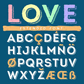 Funny hand drawn alphabet set in uppercase