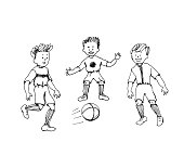 Funny hand drawn cartoon doodle kids playing soccer. Simple black and white image. Line art. Happy sportive boys running.