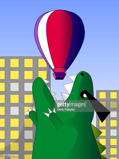 funny hand-drawn cartoon illustration - big dinosaur in the city. - cartoon characters with big teeth stock illustrations