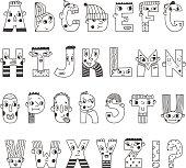 Funny handwritten cartoon alphabet. Cute characters letters.