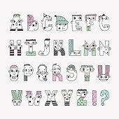 Funny handwritten colored doodle cartoon alphabet.
