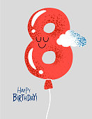 Funny Happy birthday gift card number 8 balloon