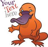 Funny happy cartoon platypus or duckbill vector template