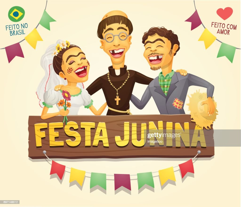 Funny hick couple with catholic priest brazilian June Party sign header