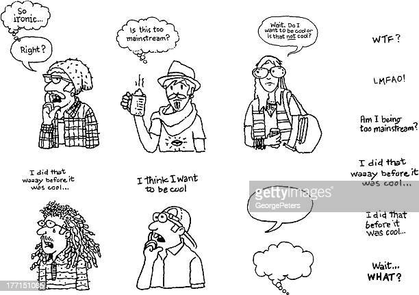 Funny Hipster Doodles with Word Bubbles
