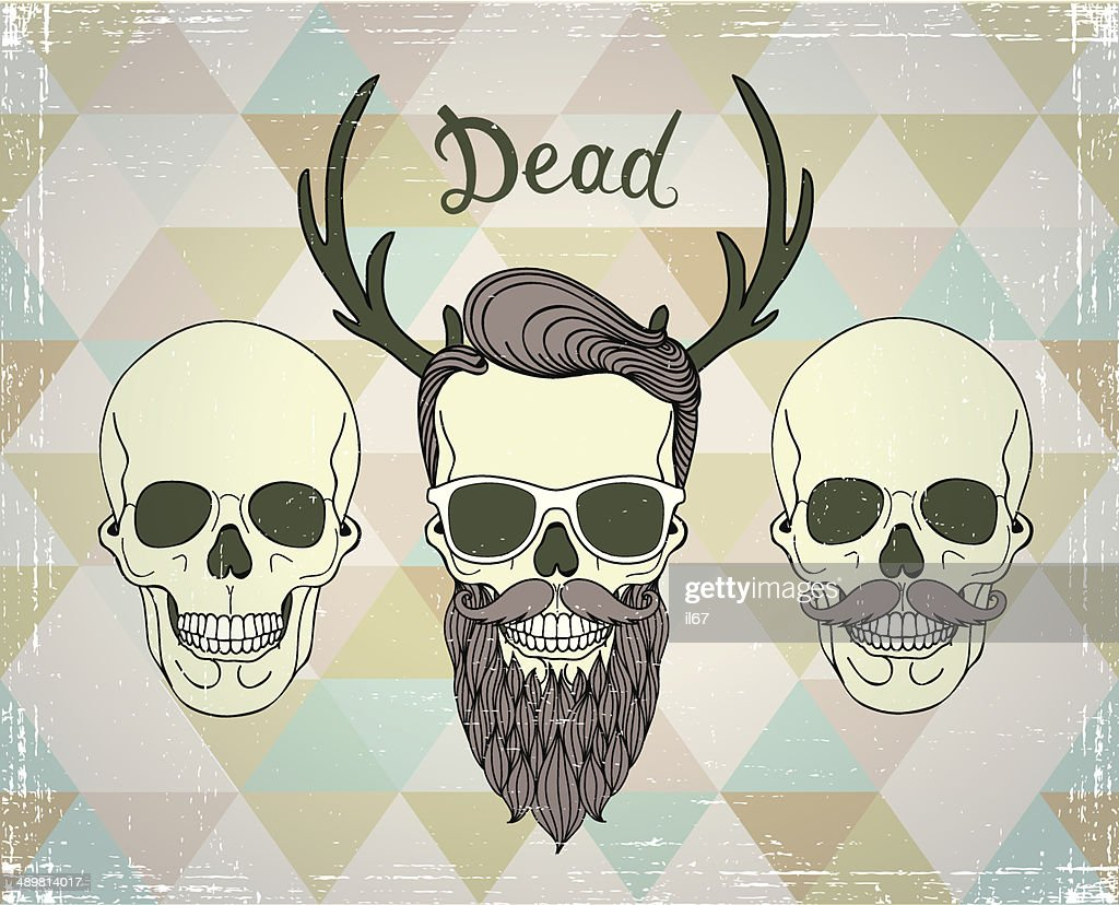 Funny Hipsters Skull