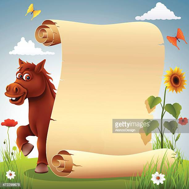 funny horse with scroll - pony stock illustrations, clip art, cartoons, & icons