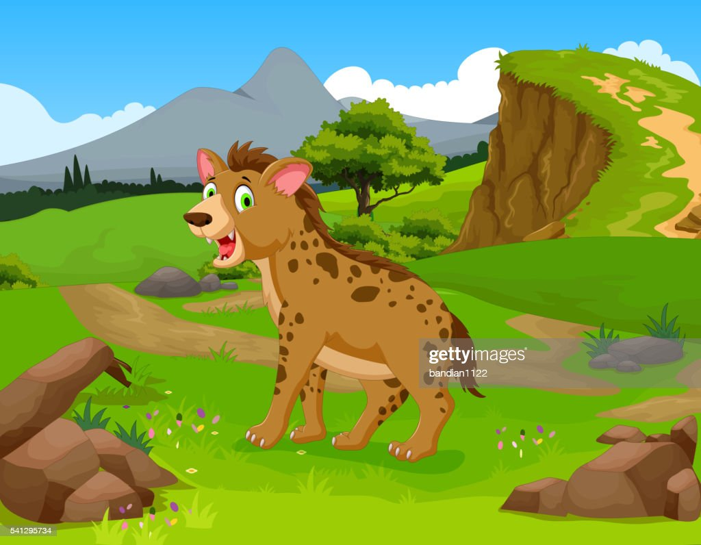 funny hyena cartoon with mountain cliff landscape background