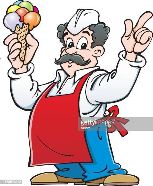 ilustraciones, imágenes clip art, dibujos animados e iconos de stock de vendedor de helados divertido - scoop shape