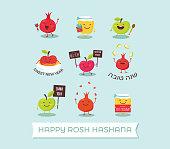 funny icons of cartoon characters for Rosh Hashanah, Jewish holiday. honey jar, apples and pomegranates. Vector illustration design