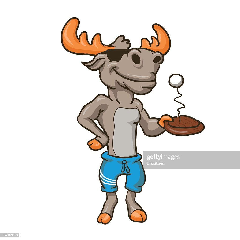 Funny illustration of a moose with racket and ball