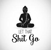 Funny Illustration with Buddha meditating vector