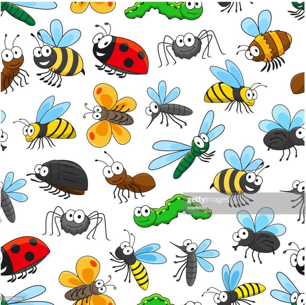 Funny insects cartoon characters seamless pattern