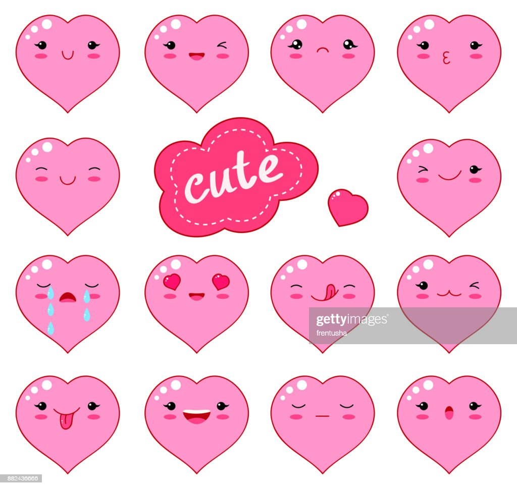 Funny kawaii style emoticon icon set