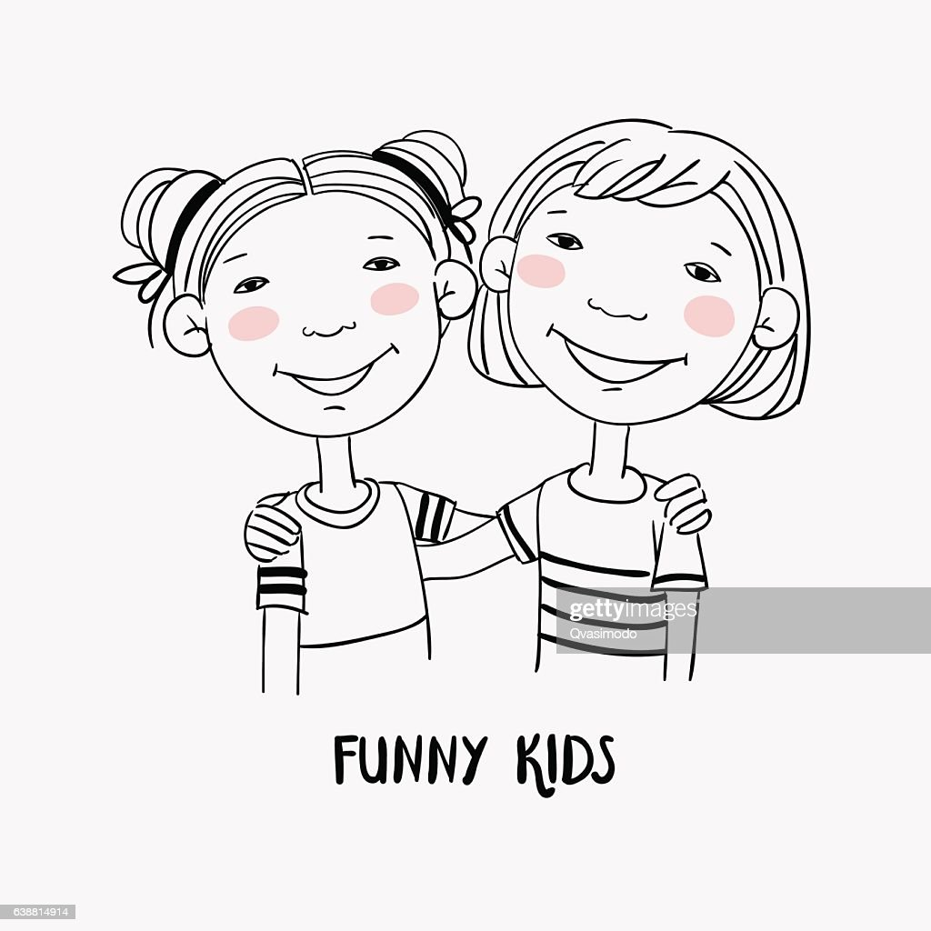 Funny kids. Little girls hugging. Children becoming friends