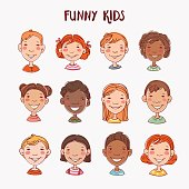 Funny kids. Multi-ethnic group of happy children. Different cartoon faces icons