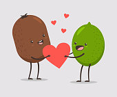 Funny kiwi and lime couple with heart. Valentine Day vector cartoon cute fruit character isolated on white background.