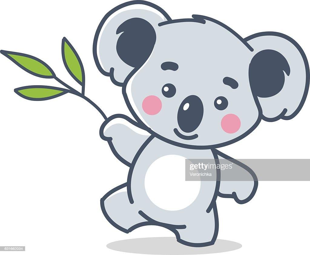 funny koala on white