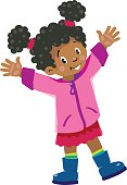 Funny little african girl waving by hand