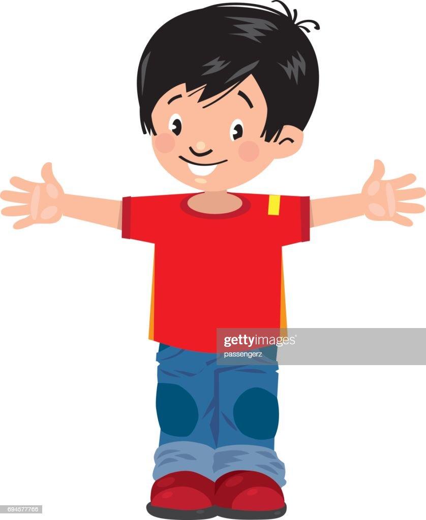 Funny little asian boy