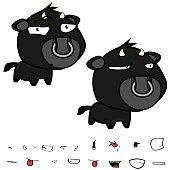 funny little big head black bull expressions set2