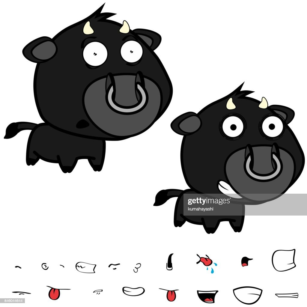 funny little big head black bull expressions set5
