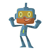 Funny little boy in a blue robot superhero costume
