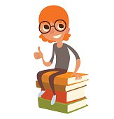 Funny little boy in glasses with orange hair