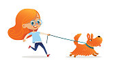 Funny little girl with red hair and glasses walking puppy on leash. Amusing redhead kid and dog isolated on white background. Child pet owner on promenade. Flat cartoon colorful vector illustration.