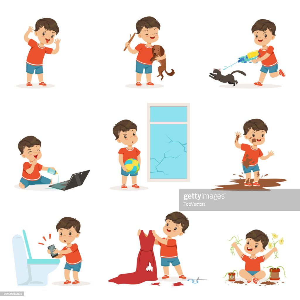 Funny Little Kid Playing Games And Making Mess Vector Art