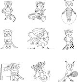 Funny little kittens doing sports and playing outdoors.