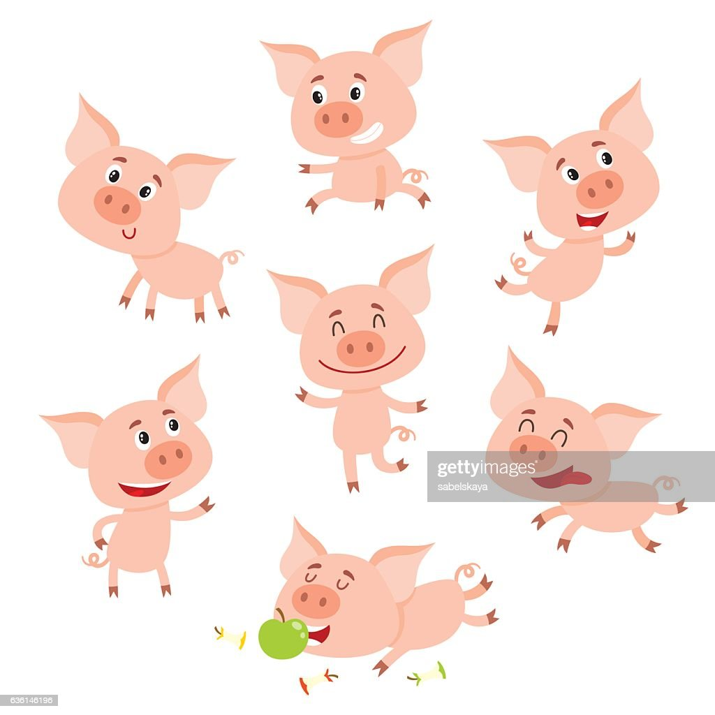 Funny little smiling pig in various poses, cartoon vector illustration