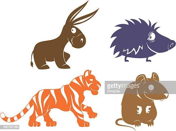 ilustraciones, imágenes clip art, dibujos animados e iconos de stock de funny mamíferos - donkey