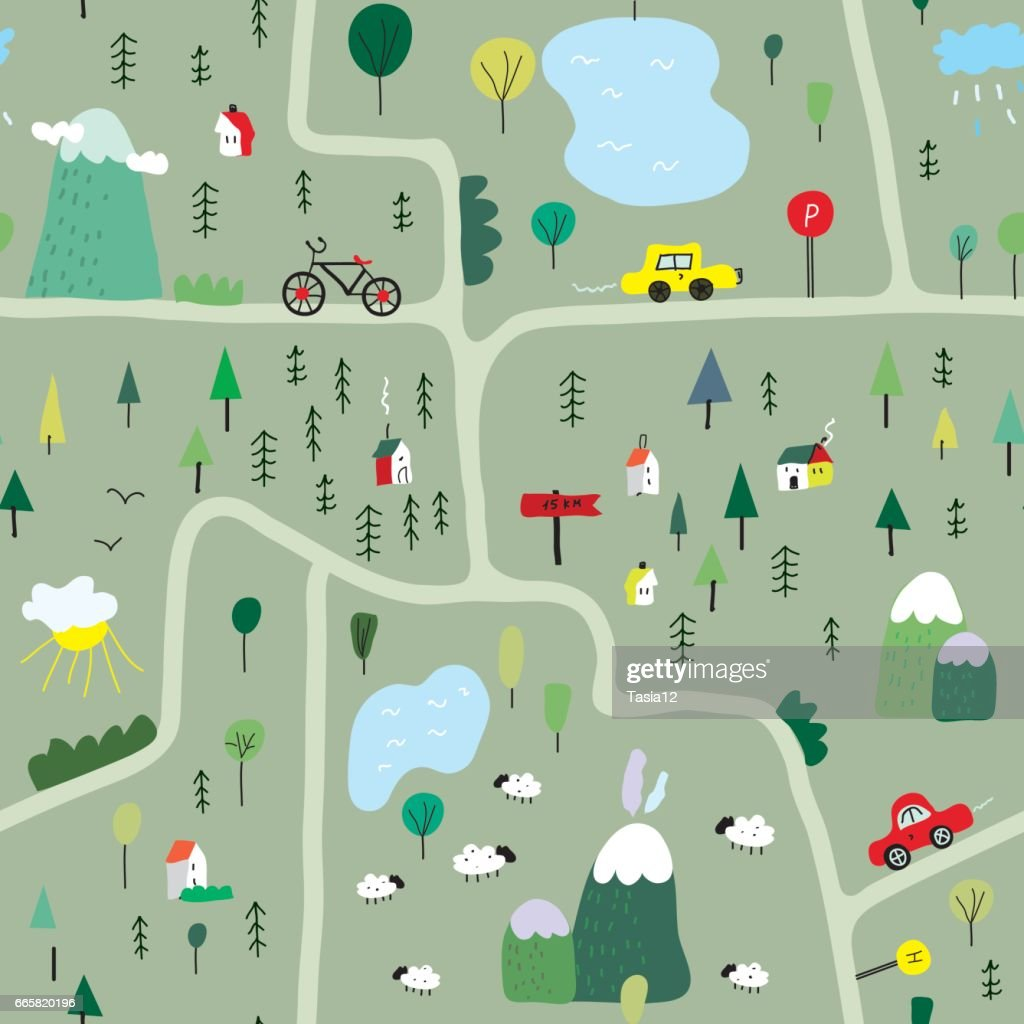 Funny map seamless pattern with nature, landscape and camping - vector illustration