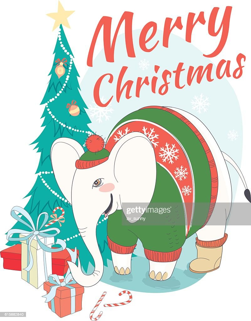 Funny Merry Christmas card with elephant wearing cute sweater