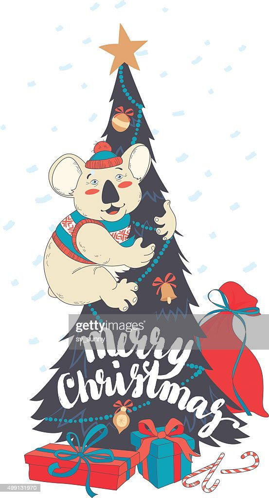 Funny Merry Christmas card with koala wearing cute sweater and