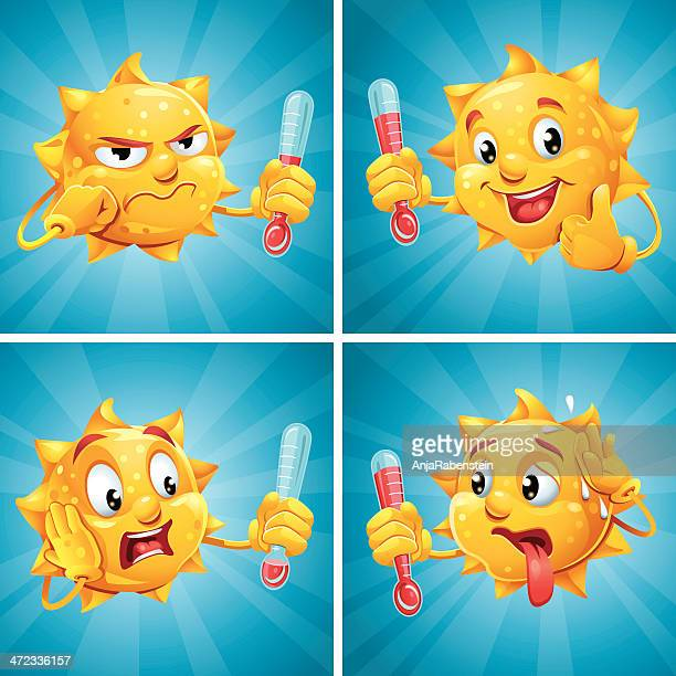 Funny Meteorologist Cartoon Sun With Human Face Holding Thermometer