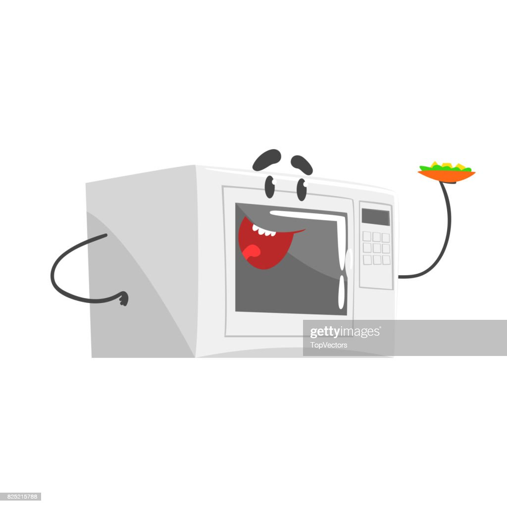 Funny Microwave Character With Smiling Face Humanized Home ...