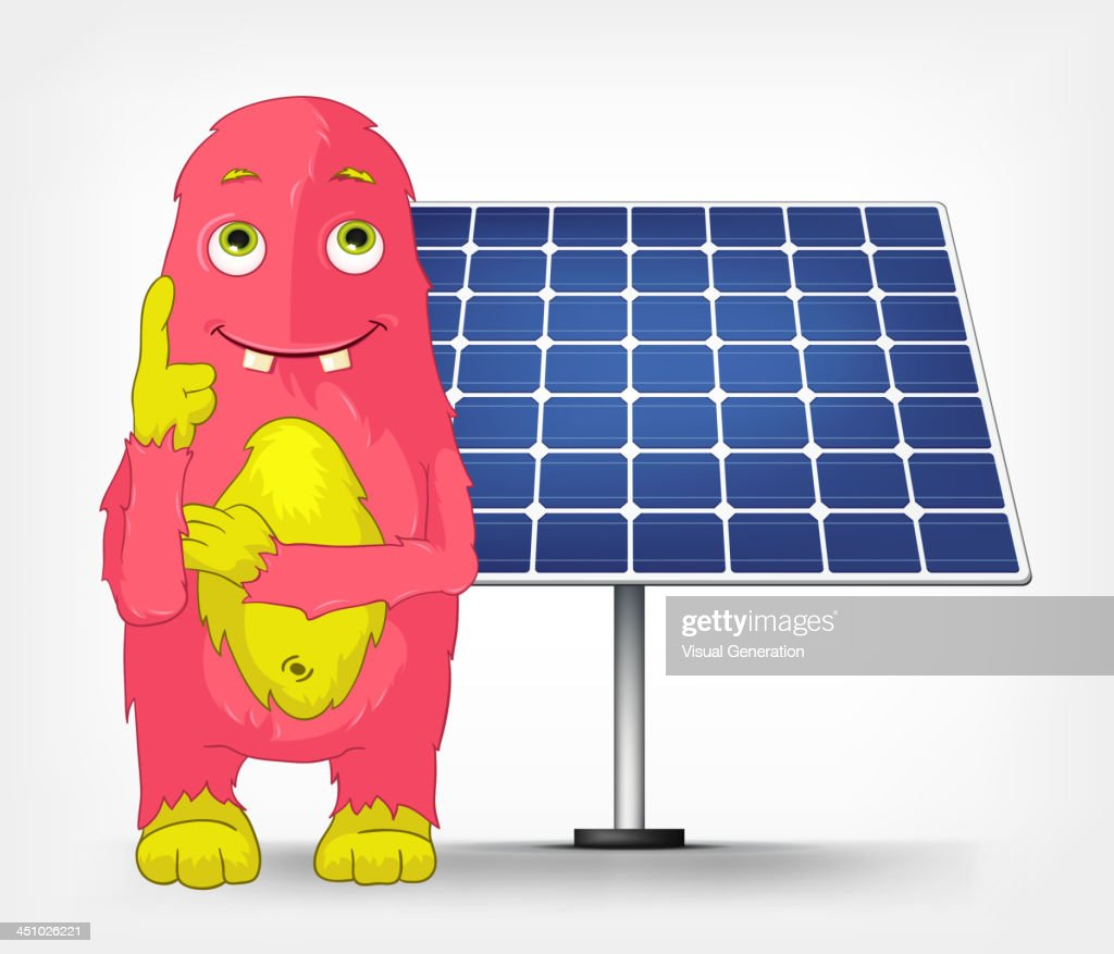 Funny Monster. Thinking about Solar Energy.
