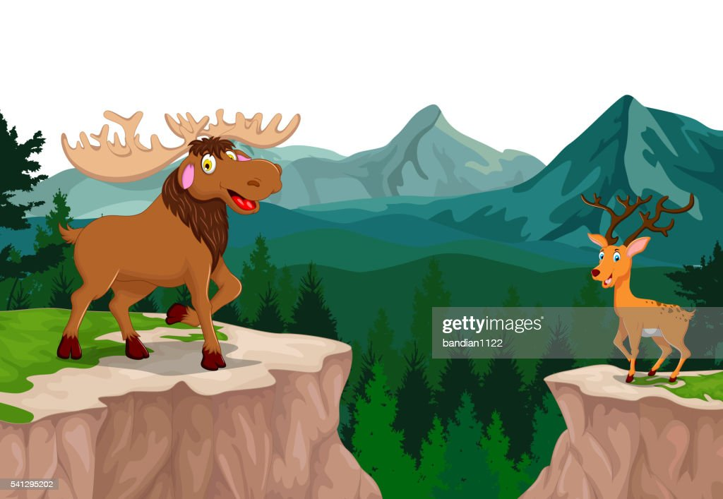 funny moose and deer with mountain cliff landscape background