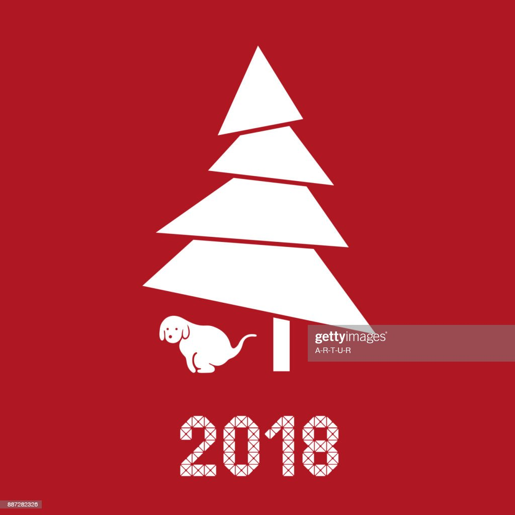Funny New Year Card Year Of Dog 2018 Vector Art Getty Images