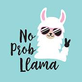 Funny No Prob Llama Vector Illustration