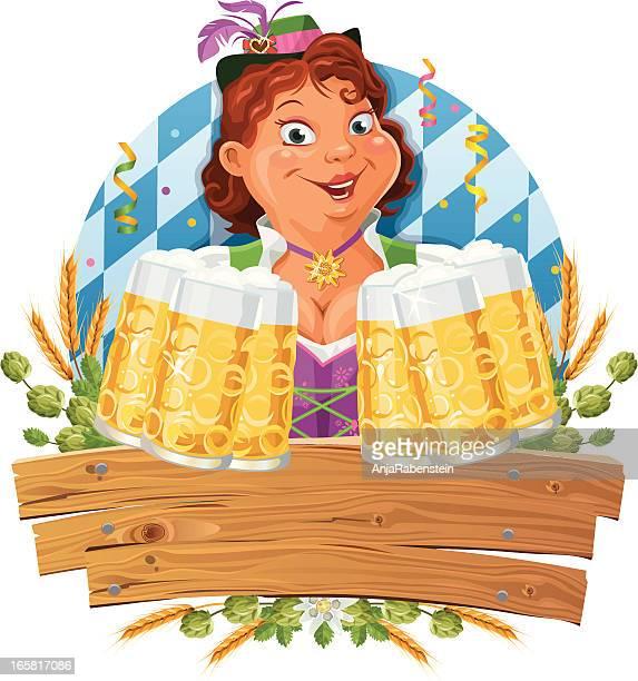 Funny Oktoberfest Waitress wearing a dirndl serving lots of Beer