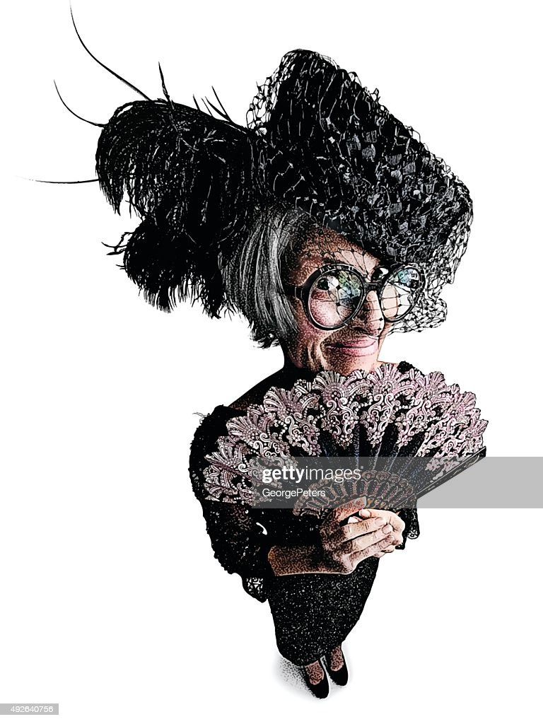 Funny Old Lady With Fisheye Effect : stock illustration