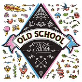 Funny Old School Tattoo Set