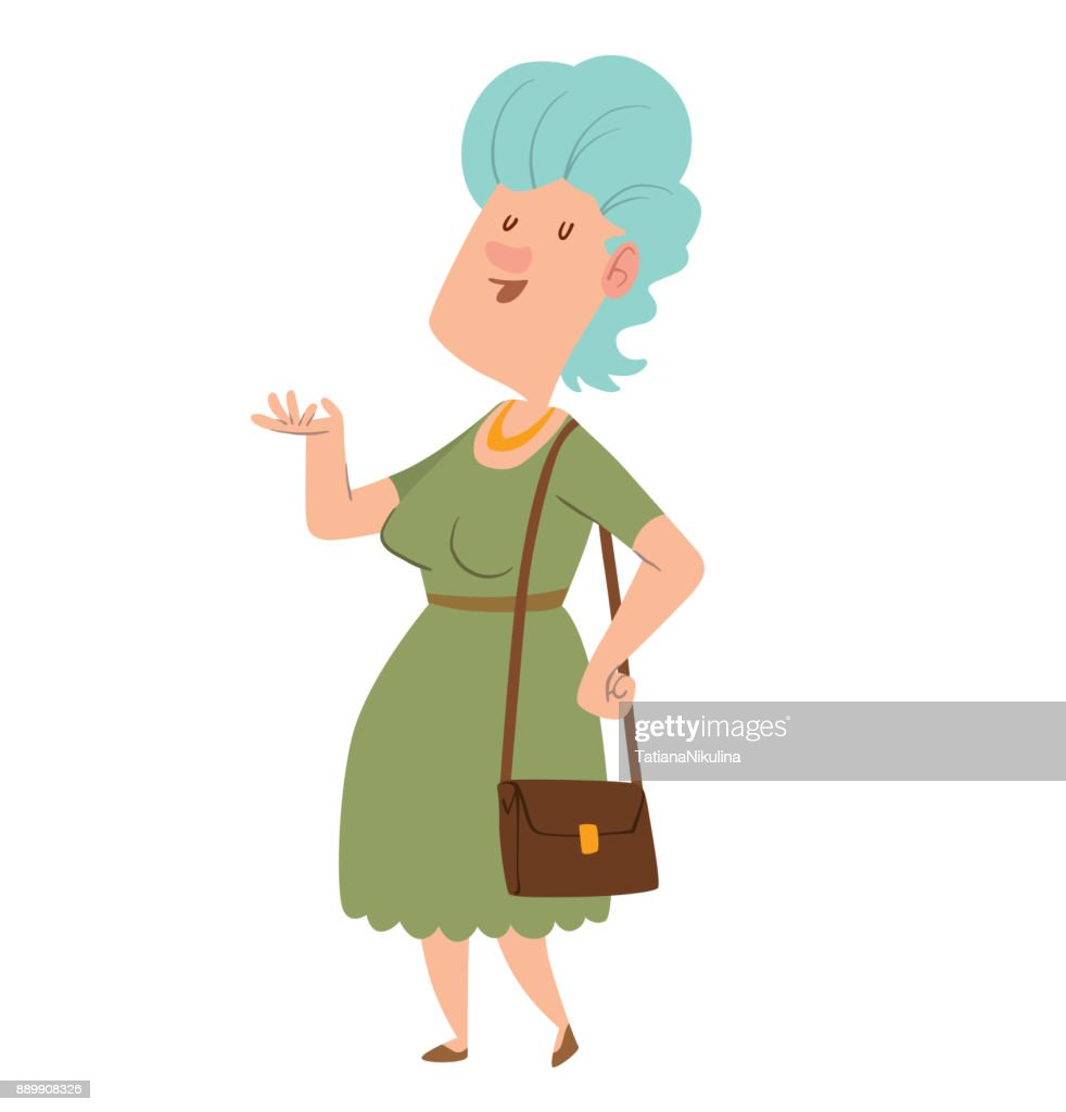 Funny old woman with light blue hair