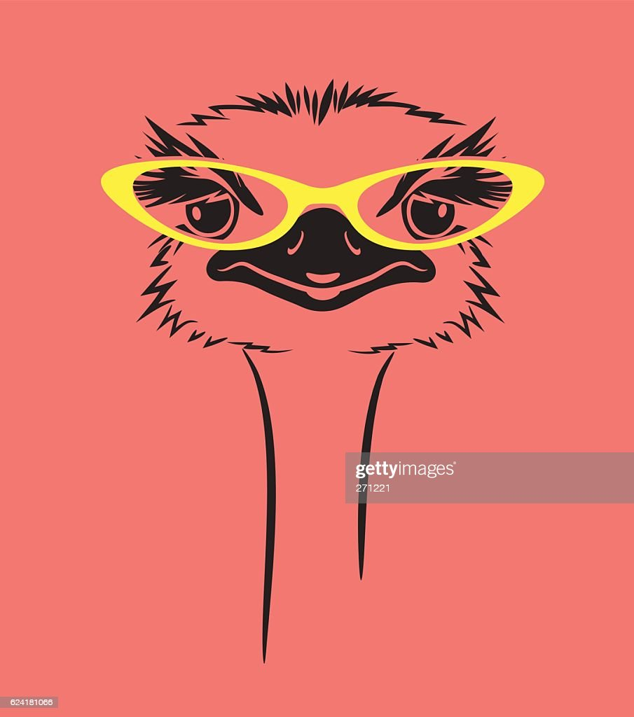 funny ostrich wearing glasses. For t-shirt, poster, print design