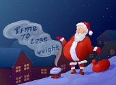 Funny overweight santa can't get into chimney. Cartoon santa cla