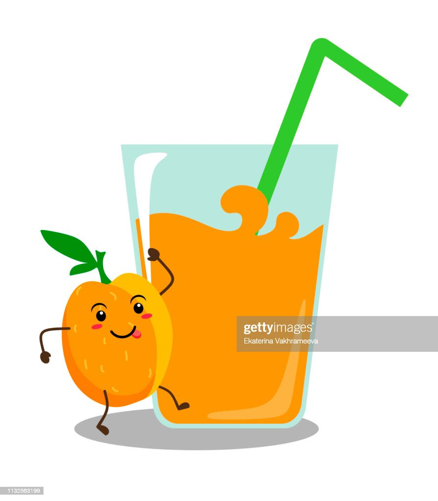 Funny peach kawai with a glass of peach juice. Vector illustration on white background.